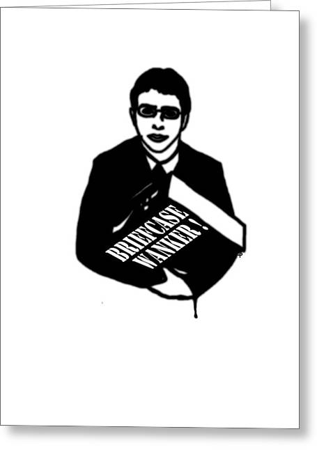 On Demand Greeting Cards - The Inbetweeners -  Briefcase Wanker Greeting Card by Paul Telling