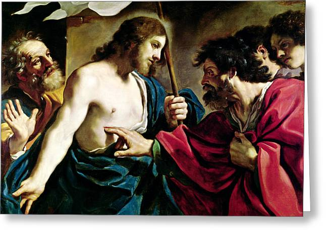 Doubting Greeting Cards - The Incredulity of Saint Thomas Greeting Card by Guercino