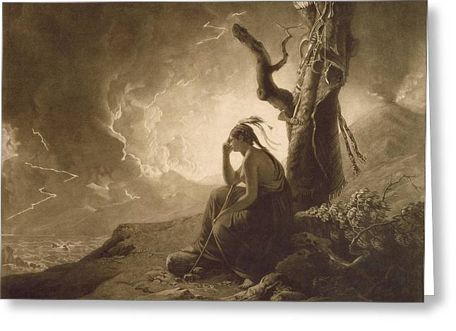 Mezzotint Greeting Cards - The Indian Widow Greeting Card by Joseph Wright of Derby