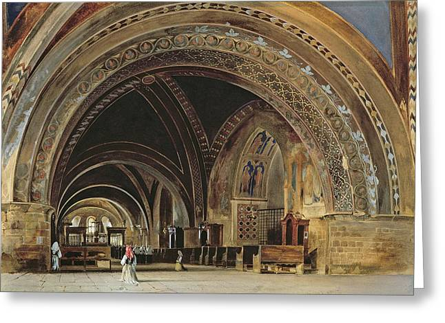 San Francesco Greeting Cards - The Interior of the Lower Basilica of St. Francis of Assisi Greeting Card by Thomas Hartley Cromek