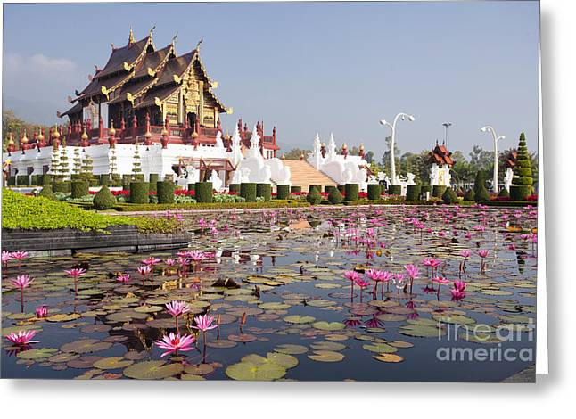 Water Lilly Greeting Cards - The International Horticultural Exposition Royal Flora Greeting Card by Anek Suwannaphoom