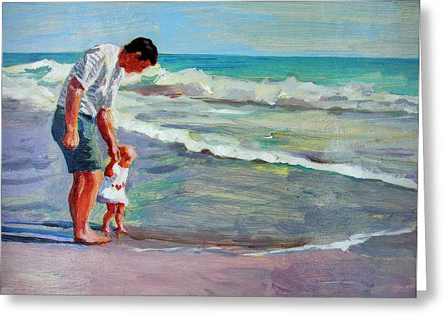 Father And Daughter Greeting Cards - The Introduction Greeting Card by Michael Jacques