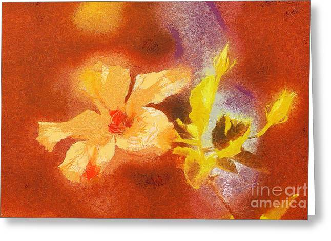 Gold Lame Greeting Cards - The iris flower Greeting Card by Odon Czintos