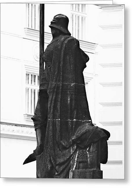 European Cities Greeting Cards - The Iron Knight - Darth Vader watches over Prague CZ Greeting Card by Christine Till