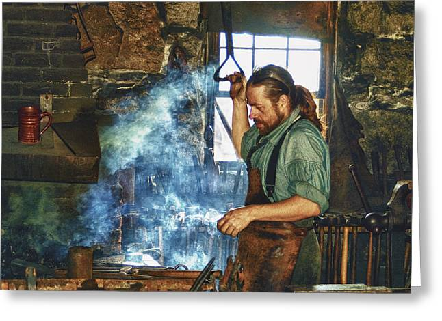 Fire Works Greeting Cards - The Iron Man- Blacksmith Greeting Card by Joann Vitali