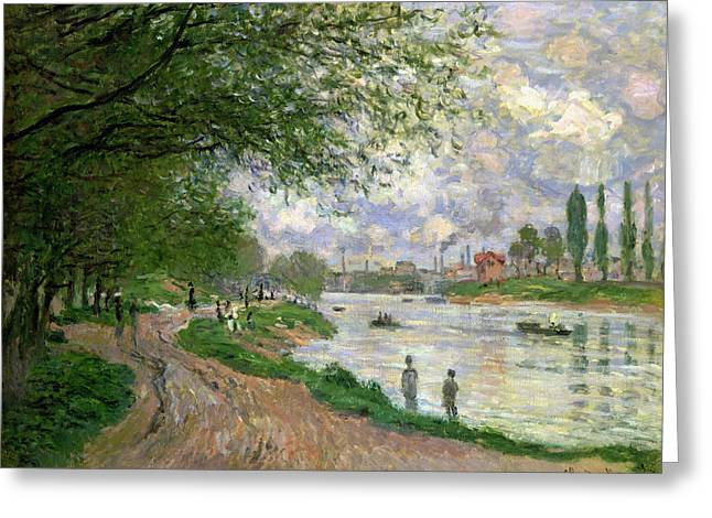 Factory Paintings Greeting Cards - The Island of La Grande Jatte Greeting Card by Claude Monet