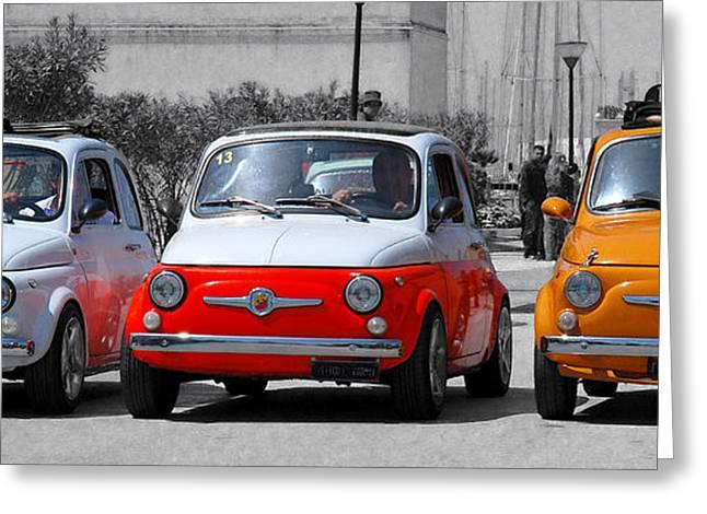 Italy Greeting Cards - The Italian small car Greeting Card by Alessandro Matarazzo