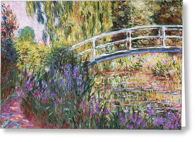 Canvas Floral Greeting Cards - The Japanese Bridge Greeting Card by Claude Monet
