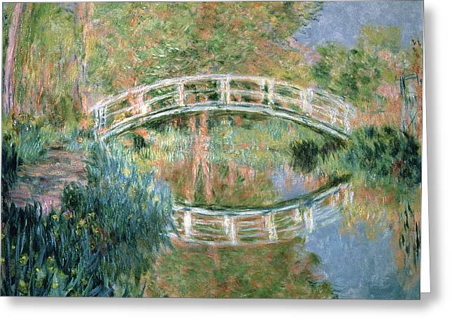 River Reflections Greeting Cards - The Japanese Bridge Greeting Card by Claude Monet