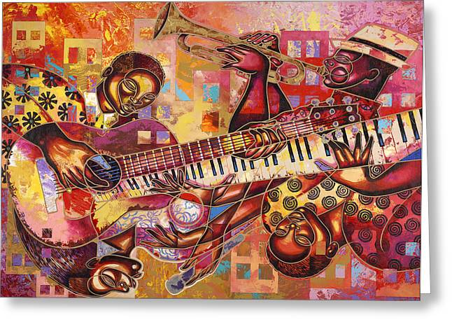 Poncho Paintings Greeting Cards - The Jazz Dimension  Greeting Card by Larry Poncho Brown