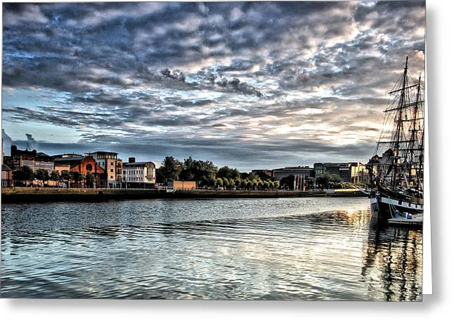 Jeanie Greeting Cards - The Jeanie Johnson on the Liffey Greeting Card by Celine Pollard