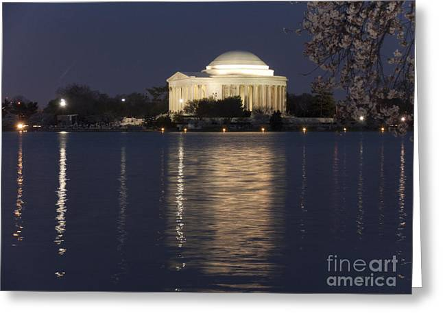 Jefferson Greeting Cards - The Jefferson Memorial at Night Greeting Card by Tim Grams