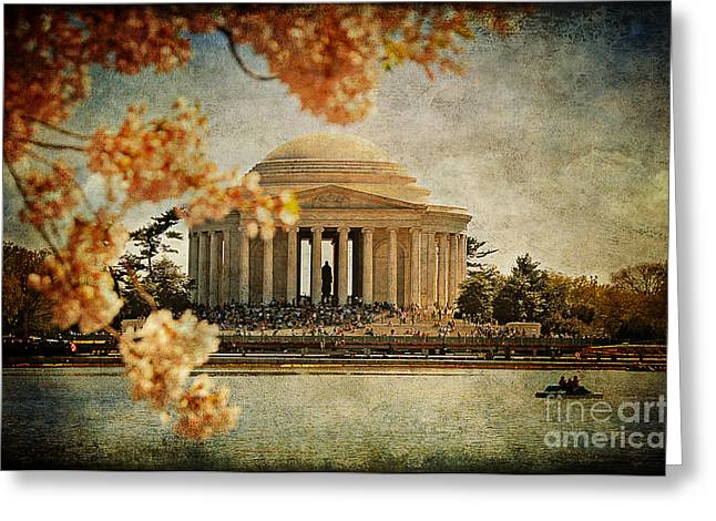 Cherry Blossom Festival Greeting Cards - The Jefferson Memorial Greeting Card by Lois Bryan