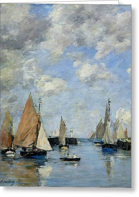 Harbour Wall Greeting Cards - The Jetty at High Tide Greeting Card by Eugene Louis Boudin