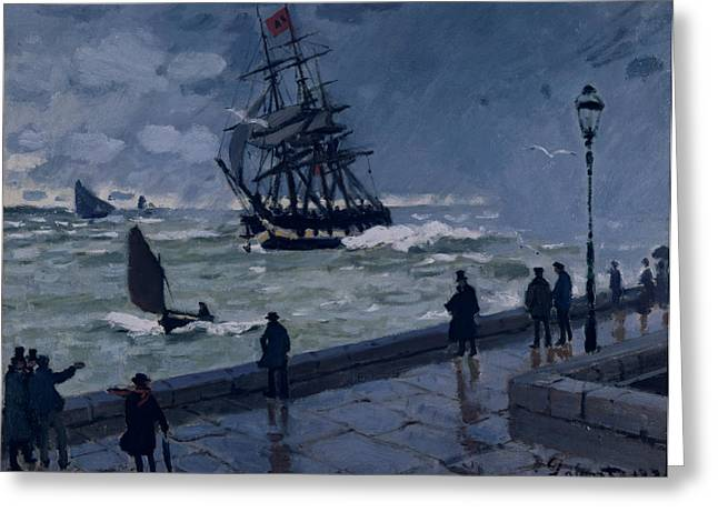 Umbrella Greeting Cards - The Jetty at Le Havre in Bad Weather Greeting Card by Claude Monet