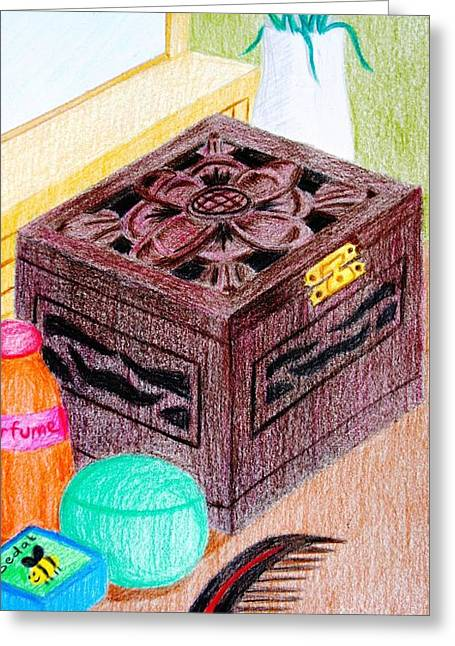Flower Boxes Drawings Greeting Cards - The Jewelry Box Greeting Card by Adam Wai Hou