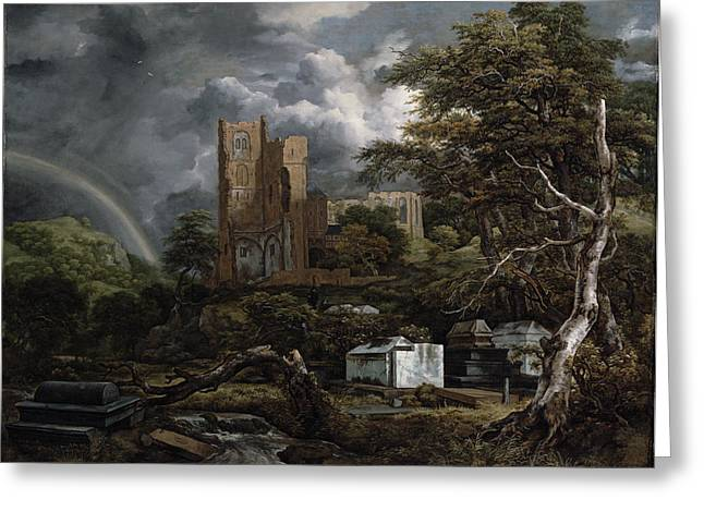 The Trees Greeting Cards - The Jewish Cemetery Greeting Card by Jacob Isaaksz Ruisdael