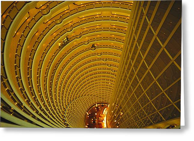 Hyatt Hotel Greeting Cards - The Jin Mao Tower Looking Greeting Card by Justin Guariglia
