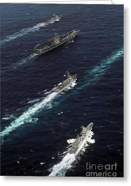 Convoy Greeting Cards - The John C. Stennis Carrier Strike Greeting Card by Stocktrek Images