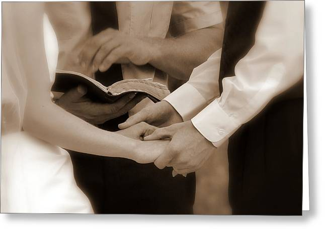 The Joining of Hands Greeting Card by Cindy Wright
