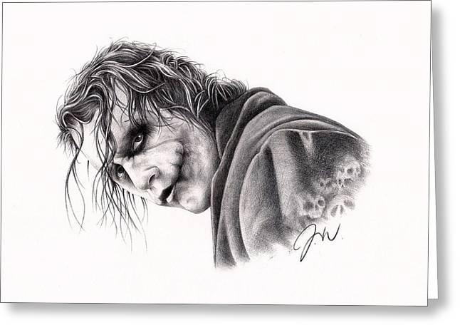 Batman Drawings Greeting Cards - The Joker Greeting Card by Jamie Warkentin