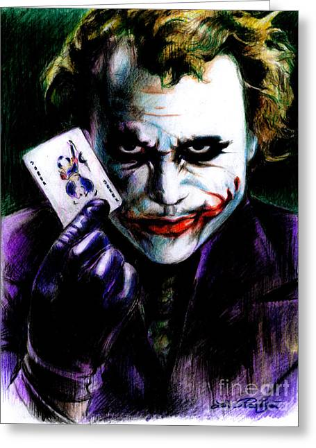 Serious Greeting Cards - The Joker Greeting Card by Lin Petershagen