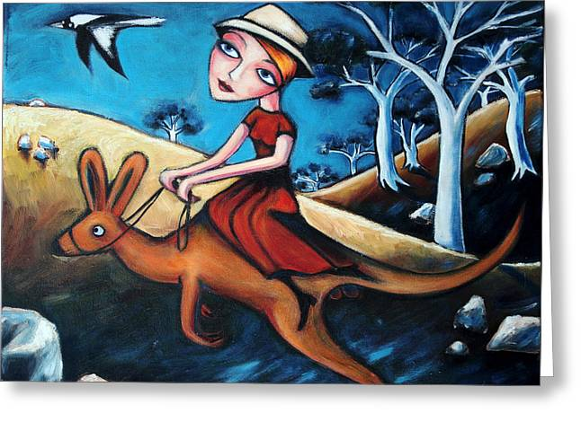 Kangaroo Greeting Cards - The Journey Woman Greeting Card by Leanne Wilkes