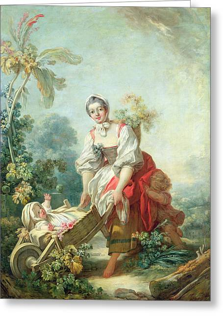 Maternal Greeting Cards - The Joys of Motherhood Greeting Card by Jean-Honore Fragonard