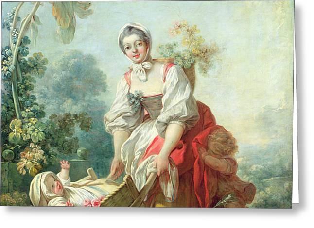 The Joys of Motherhood Greeting Card by Jean-Honore Fragonard