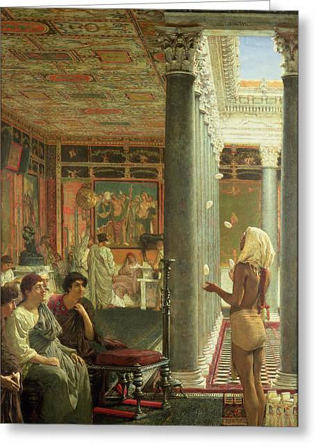 Tricks Greeting Cards - The Juggler Greeting Card by Sir Lawrence Alma-Tadema