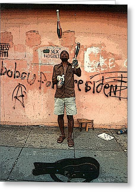American Grafitti Greeting Cards - The Juggler Greeting Card by Walter Oliver Neal