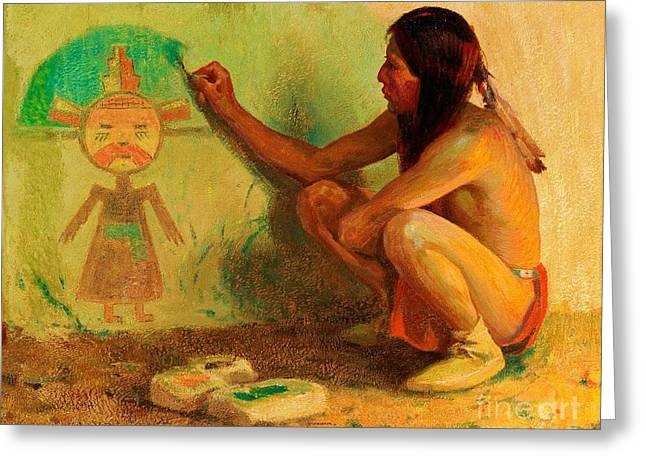 Kachina Greeting Cards - The Kachina Painter Greeting Card by Pg Reproductions