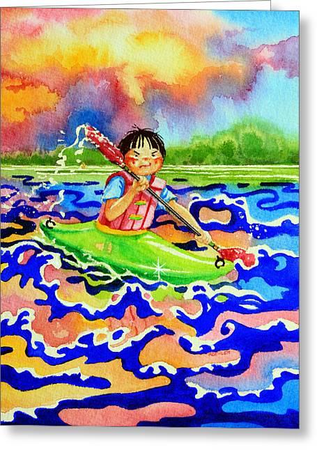 The Kayak Racer 12 Greeting Card by Hanne Lore Koehler