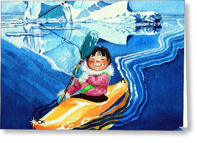 The Kayak Racer 13 Greeting Card by Hanne Lore Koehler