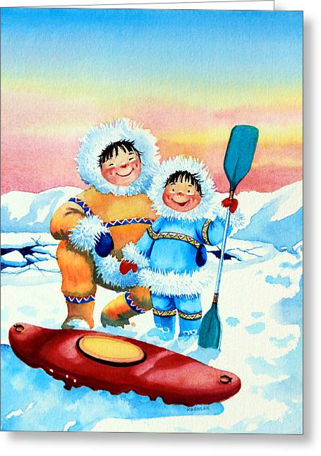 Storybook Greeting Cards - The Kayak Racer 2 Greeting Card by Hanne Lore Koehler