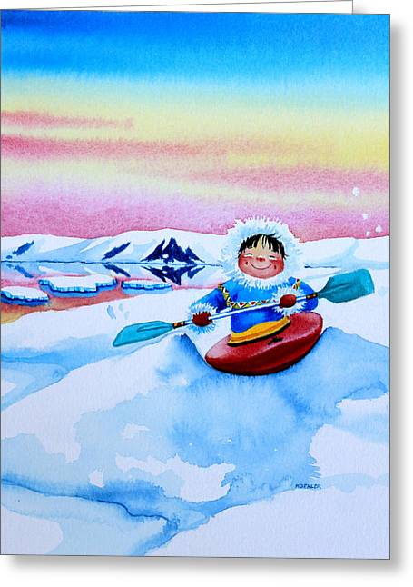 Storybook Greeting Cards - The Kayak Racer 3 Greeting Card by Hanne Lore Koehler