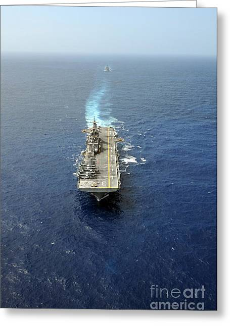 Strike Group Greeting Cards - The Kearsarge Amphibious Ready Group Greeting Card by Stocktrek Images