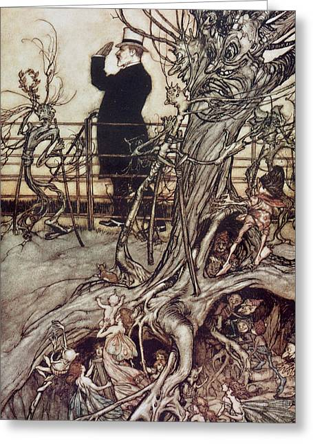 Tree Roots Greeting Cards - The Kensington Gardens are in London where the King lives Greeting Card by Arthur Rackham