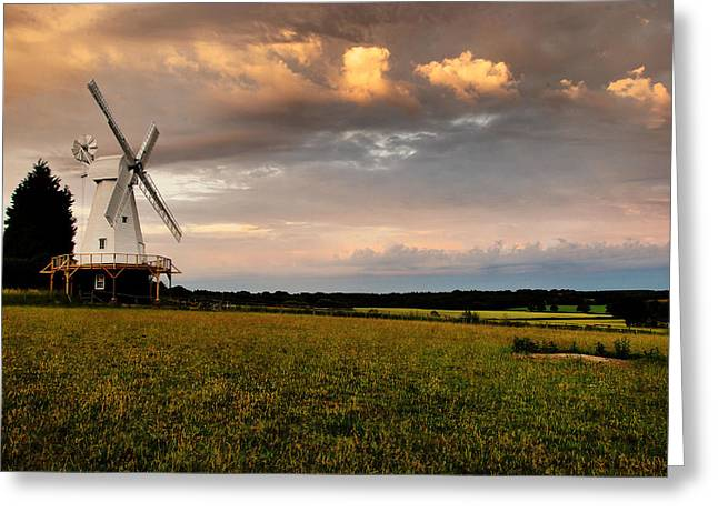 Weatherboard Greeting Cards - The Kentish Smock Mill Greeting Card by Jeremy Sage