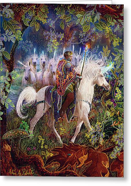 Black Unicorn Greeting Cards - The King And I Greeting Card by Steve Roberts