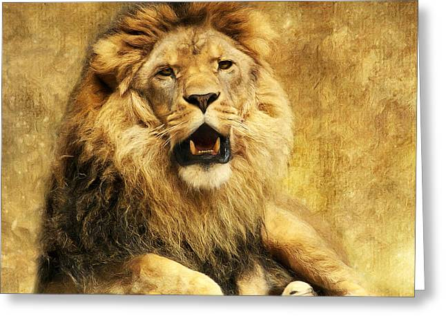 Wild Animals Greeting Cards - The King Greeting Card by Angela Doelling AD DESIGN Photo and PhotoArt