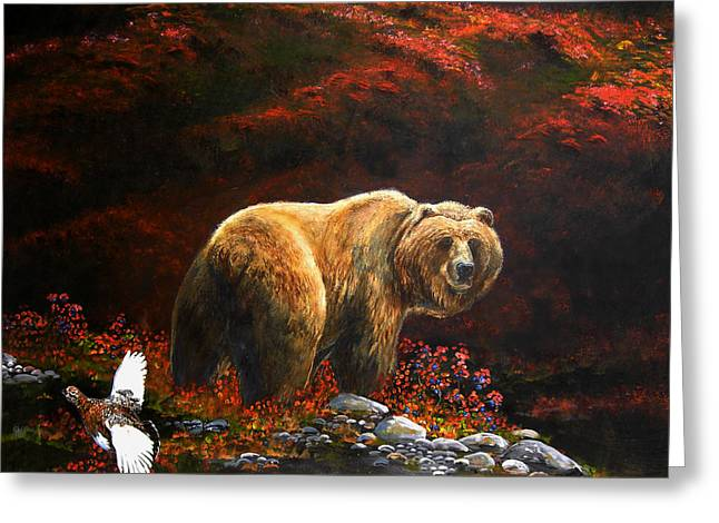 Kodiak Paintings Greeting Cards - The King of Blueberry hill Greeting Card by Scott Thompson