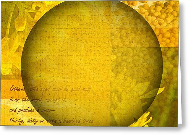 Recently Sold -  - Parable Greeting Cards - The Kingdom Of God Is Like A Mustard Seed Greeting Card by Ruth Palmer
