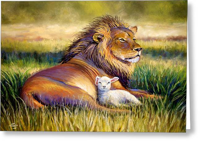 Lion Lamb Greeting Cards - The Kingdom of Heaven Greeting Card by Susan Jenkins