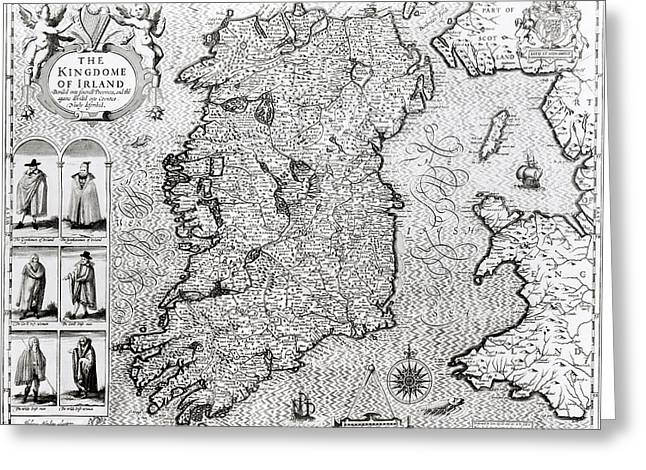 Atlas Greeting Cards - The Kingdom of Ireland Greeting Card by Jodocus Hondius