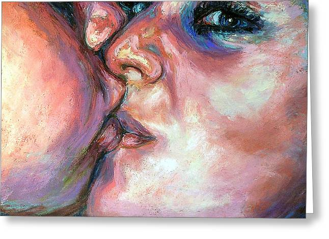 People Pastels Greeting Cards - The Kiss Greeting Card by Li Newton