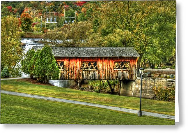 Covered Bridge Greeting Cards - The Kissing Bridge Greeting Card by Evelina Kremsdorf