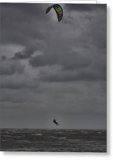 Kite Surfer Greeting Cards - The Kite Surfer V2 Greeting Card by Douglas Barnard