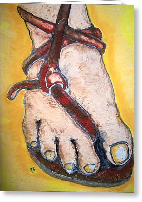 Faith Pastels Greeting Cards - The Knot In His Sandal Greeting Card by Theresa Johnson