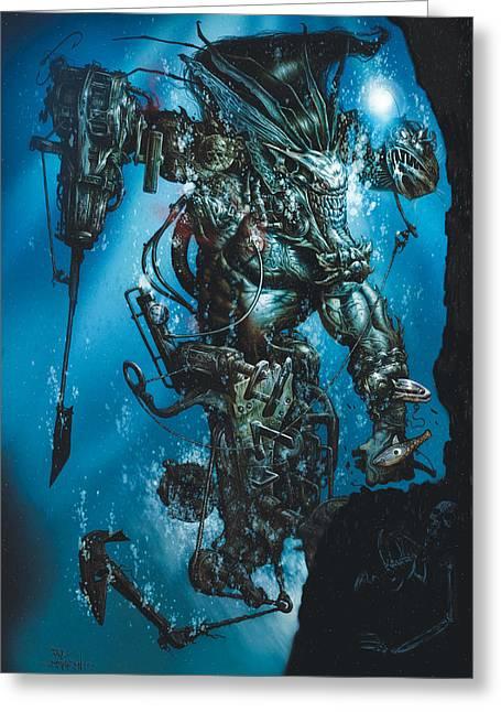 Fantasy Creatures Greeting Cards - The Kraken Greeting Card by Paul Davidson
